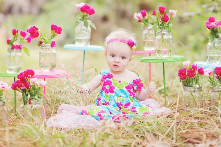 South Florida baby photographer field flowers